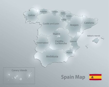 Spain map and flag, administrative division, separates regions and names, design glass card 3D vector Иллюстрация