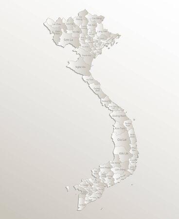 Vietnam map, administrative division, separates regions and names, card paper 3D natural vector Ilustração