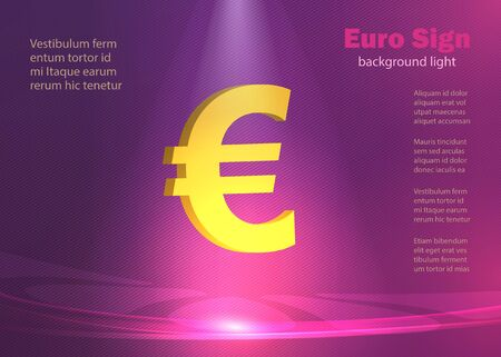 Euro sign, background ​​glowing lights, modern poster lines violet and purple vector Illustration