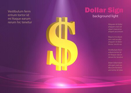 Dollar sign, background ​​glowing lights, modern poster lines violet and purple vector