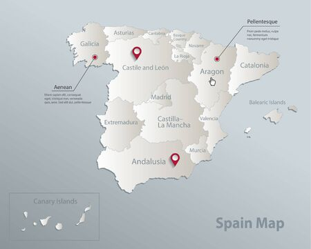 Spain map, administrative division with names, blue white card paper 3D vector