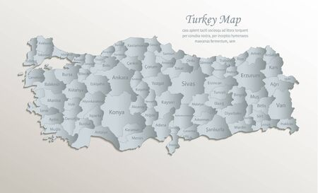 Turkey map, administrative division with names, white blue card paper 3D vector