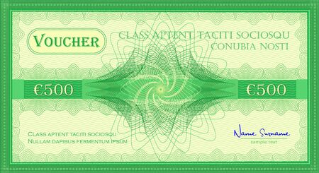 Voucher like a five hundred euro gift banknote green color vector  イラスト・ベクター素材
