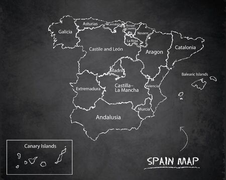 Spain map administrative division, separates regions and names, design card blackboard chalkboard vector Иллюстрация
