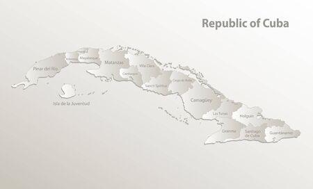 Cuba map administrative division, separates regions and names, card paper 3D natural vector Ilustração