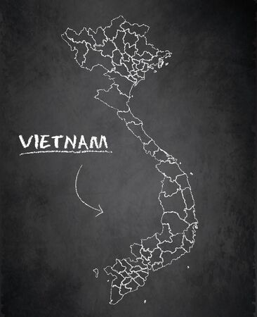 Vietnam map, administrative division, separates regions and names, background blackboard chalkboard vector