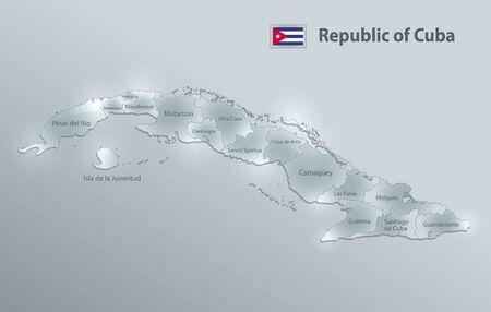 Cuba map and flag, administrative division separates regions and names, design glass card 3D vector Ilustração
