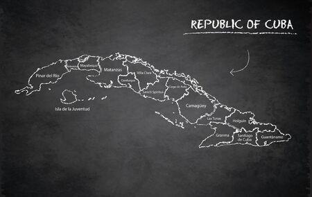 Cuba map administrative division, separates regions and names, design card blackboard chalkboard vector