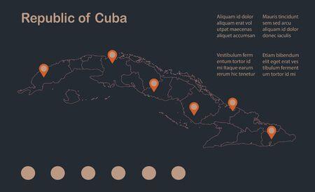 Infographics Cuba map outline, flat design, color blue orange vector Vettoriali