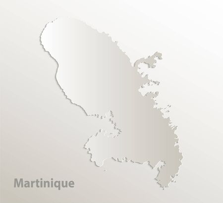 Martinique map, card paper 3D natural vector Vetores