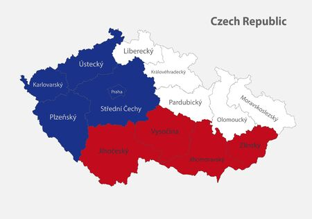 Map of the Czech Republic in the colors of the flag with administrative divisions vector