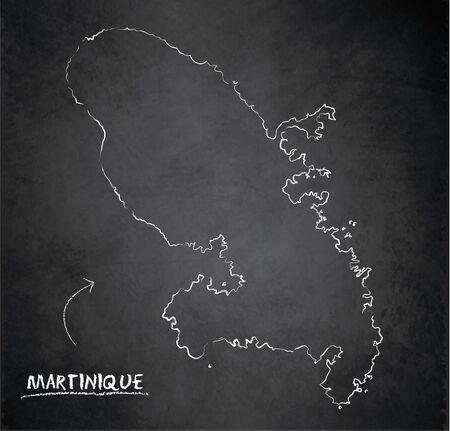 Martinique map, design card blackboard chalkboard vector Vetores