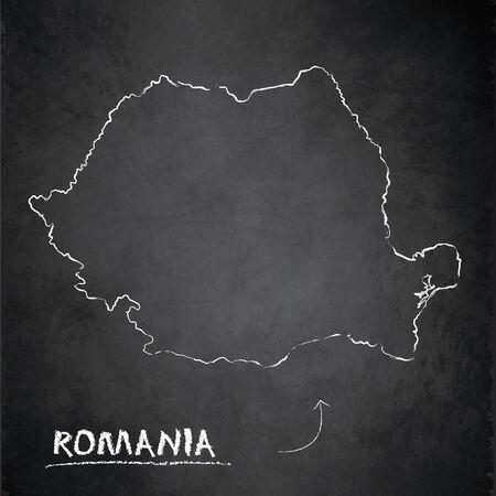 Romania map, design card blackboard chalkboard vector