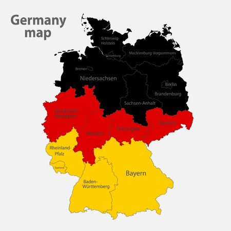 Map of the Germany in the colors of the flag with administrative divisions vector