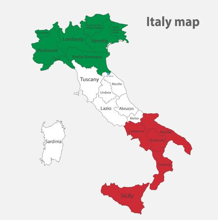 Map of the Italy in the colors of the flag with administrative divisions vector