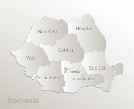 Romania map administrative division separates regions and names individual region, card paper 3D natural vector