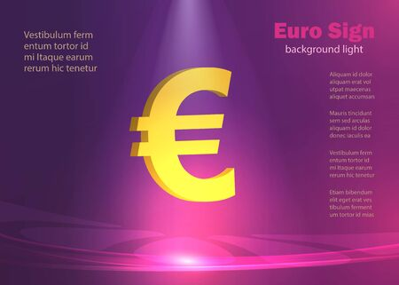 Euro gold, glowing lights background vector
