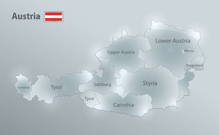 Austria map and flag, administrative division, separates regions and names individual region, design glass card 3D vector Иллюстрация