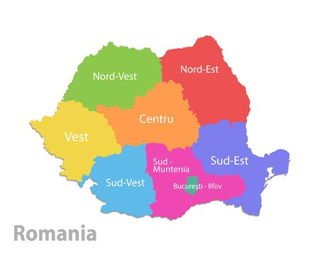 Romania map, administrative division, separate individual states with state names, color map isolated on white background vector