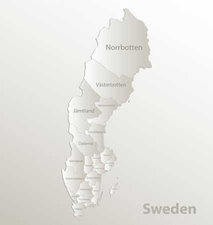 Sweden map administrative division separates regions and names individual counties, card paper 3D natural vector