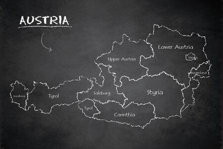 Austria map administrative division separates regions and names individual region, design card blackboard chalkboard vector Иллюстрация