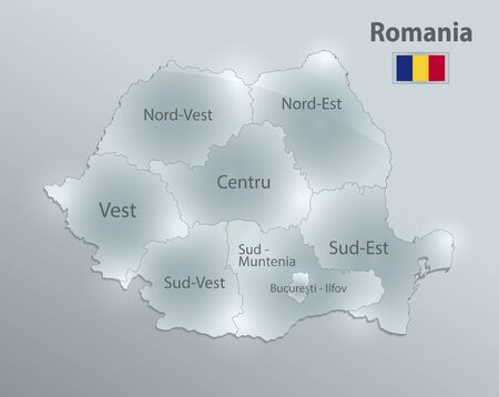 Romania map and flag, administrative division, separates regions and names individual region, design glass card 3D vector