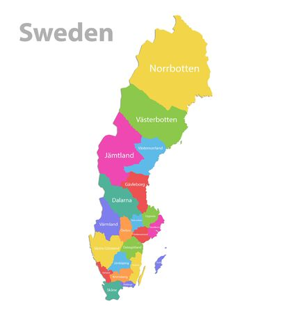 Sweden map, administrative division with names, colors map isolated on white background vector