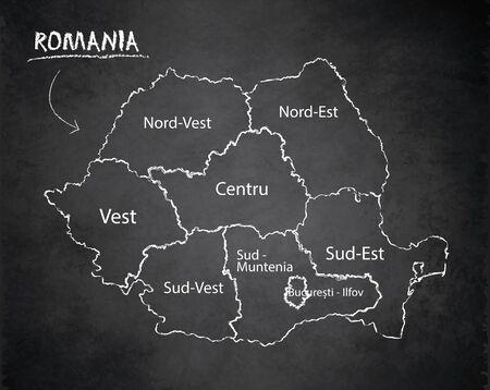 Romania map administrative division, separates regions and names individual region, design card blackboard chalkboard vector Vettoriali