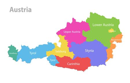 Austria map, administrative division, separate individual states with state names, color map isolated on white background vector