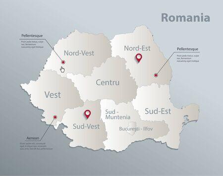 Carte de la Roumanie, division administrative avec des noms, vecteur 3D de papier de carte blanche bleue