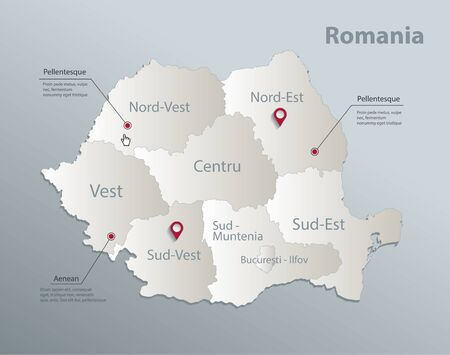 Romania map, administrative division with names, blue white card paper 3D vector