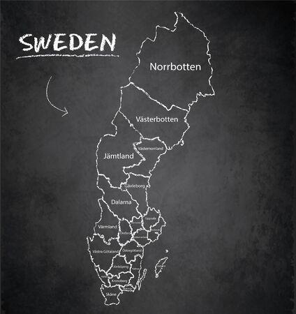 Sweden map administrative division separates regions and names individual region, design card blackboard chalkboard vector