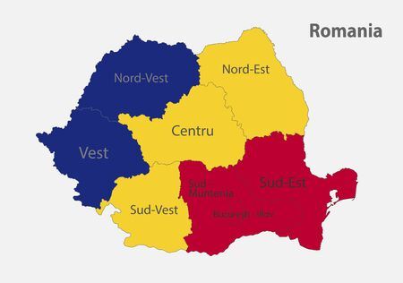 Map of the Romania in the colors of the flag with administrative divisions vector