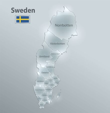 Sweden map and flag, administrative division, separates regions and names individual region, design glass card 3D vector