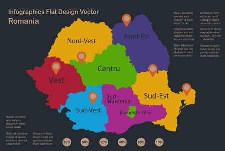 Infographics Romania map, flat design colors, names of individual administrative division, blue background with orange points vector