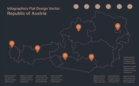 Infographics Austria map outline, flat design, color blue orange vector