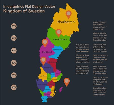 Infographics Sweden map, flat design colors, names of individual administrative division, blue background with orange points vector
