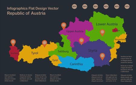 Infographics Austria map, flat design colors, names of individual administrative division, blue background with orange points vector