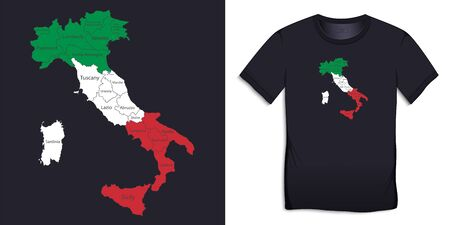 Print for t-shirt graphic design with Italy map in the colors of the Italian flag vector