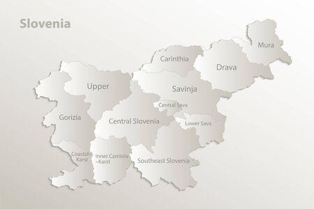 Slovenia map administrative division separates regions and names individual region, card paper 3D natural vector
