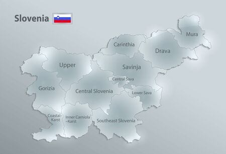 Slovenia map and flag, administrative division, separates regions and names individual region, design glass card 3D vector