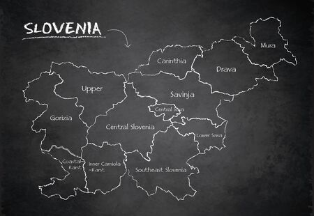 Slovenia map administrative division separates regions and names, design card blackboard chalkboard vector Illustration