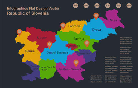 Infographics Slovenia map, flat design colors, names of individual administrative division, blue background with orange points vector