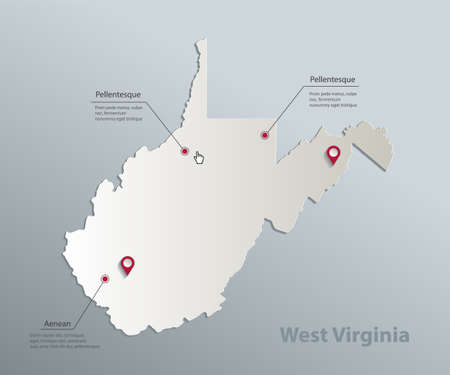 West Virginia map, blue white card paper 3D vector