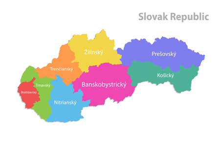 Slovak Republic map, administrative division, separate individual regions with Slovakia names, color map isolated on white background vector