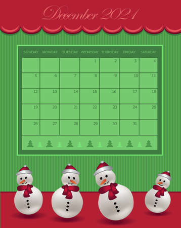 Calendar December Christmas for the year 2021, snowman with hat, red green color vector
