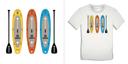 Print on t-shirt graphics design, Paddle board, isolated on white background vector