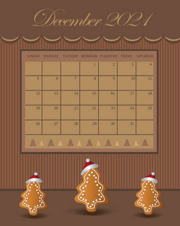 Calendar December Christmas for the year 2021, trees with gingerbread with a cap, chocolate color vector