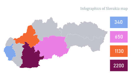 Infographics of Slovakia map, individual states vector Stock Illustratie