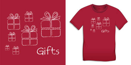 Gift chalk pattern, Christmas motif image, graphic design for t-shirts vector